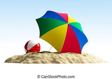 esernyő, labda, tengerpart