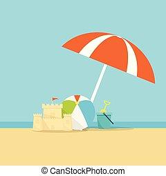 esernyő, lapát, háttér, vödör, labda, tenger, tengerpart