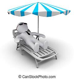 esernyő, nap, #d, alatt, ünnepek, ember