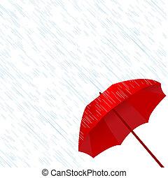 esernyő, piros, eső