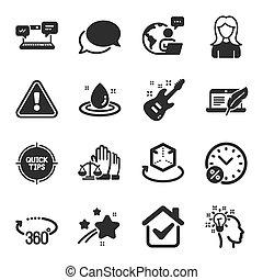 esküdtszék, bíróság, állhatatos, nő, hírnök, hasonló, symbols., ikonok, vektor, ügy