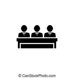 esküdtszék, vektor, háló, sablon, egyszerű, háttér., fehér, bizottság, jurors., tervezés, jelkép, mozgatható, lakás, csoport, tiszteletreméltó, illustration., elem, aláír, ui, fekete, jurors, ikon, csoport