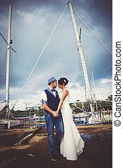 esküvő, árboc, jacht