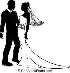 esküvő, árnykép, menyasszony, lovász, párosít