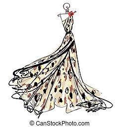 esküvő öltözködik, tervezés, elszigetelt, fehér