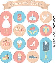 esküvő, 2, állhatatos, kerek, ikonok