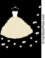esküvő, agancsrózsák, ruha