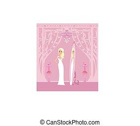 esküvő, bolt, gyönyörű, finom, leány, ruha