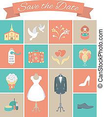 esküvő, derékszögben, 2, állhatatos, ikonok
