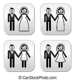 esküvő, házas, menyasszony, párosít