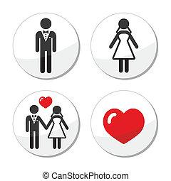 esküvő párosít, házas, -, ikonok
