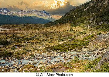 esmeralda, folyó, del, fuego, laguna, tierra