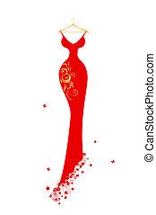 estélyi ruha, hirdetmények, piros