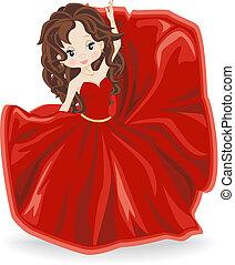 este, barna nő, ruha, leány, piros