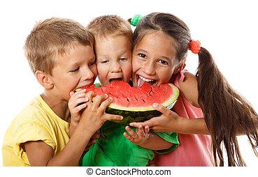 eszik görögdinnye, család, boldog