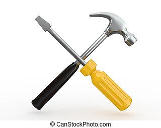 eszközök, csavarhúzó, utility., hammer.