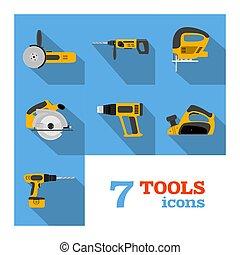 eszközök, elektromos, ikonok