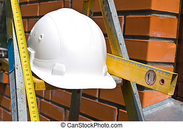 eszközök, fehér, nehéz kalap, dolgozó