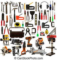 eszközök, háttér, elszigetelt, fehér