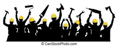 eszközök, handyman., emberek, szerkesztés, árnykép, brigád, csoport