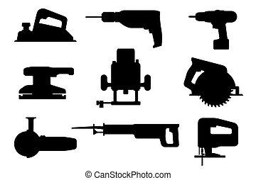 eszközök, körvonal, fekete, elektromos