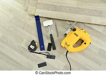 eszközök, lefektetés, laminate