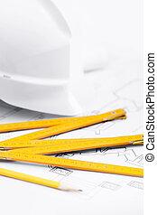 eszközök, munka nehéz, feláll sűrű, white kalap