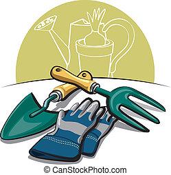 eszközök, pár kesztyű, kertészkedés