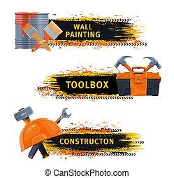 eszközök, transzparens, festmény, szerkesztés, fal, vektor