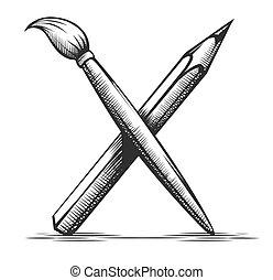 eszközök, vector., művész, ceruza, drawing., jelkép., ecset, művészet