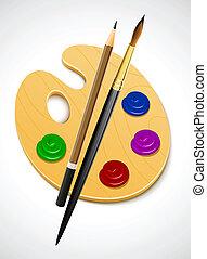 eszköz, paletta, művészet, rajz