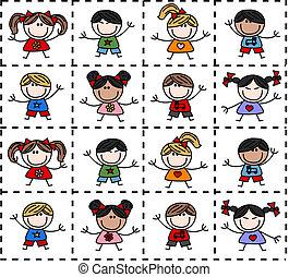 etnikai, kevert, boldog, gyerekek