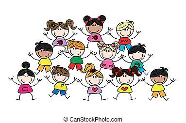 etnikai, multicultural, kevert, gyerekek