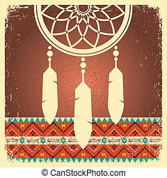 etnikai, poszter, fogójátékos, álmodik, díszítés