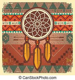 etnikai, vektor, poszter, fogójátékos, álmodik, díszítés