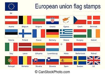 eu, vektor, zászlók