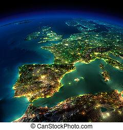 európa, darab, portugália, -, franciaország, éjszaka, spanyolország, earth.