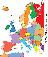 európa, editable, országok