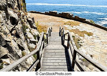 európa, galicia, fénykép, spanyolország, északi-tenger, háttér, út