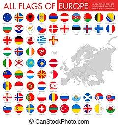 európa, gombok, lobogó, kerek, országok