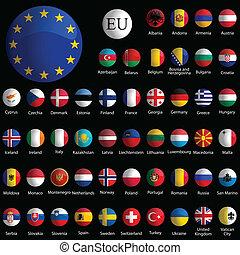 európa, ikonok, gyűjtés, ellen, fekete, sima