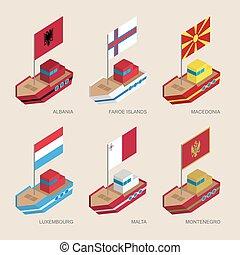 európa, isometric, állhatatos, központi, hajó, zászlók