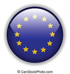európa, lobogó, vektor, gombol