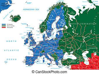 európa, térkép, út