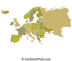 európa, térkép, körvonalazott, országok