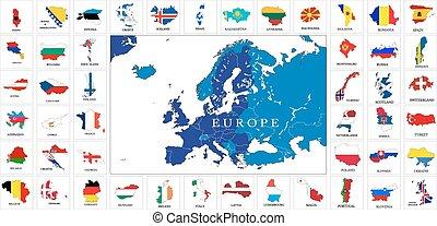 európa, térkép, lobogó, országok