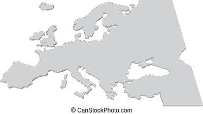 európa, térkép, ország, fekete, fehér, 3