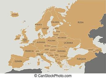 európa, térkép, ország, politikai, ábra, címkével ellátott, vektor, címek, spanish., editable, layers., világosan