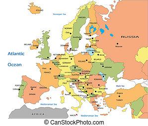 európa, térkép, politikai