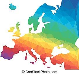 európa, térkép, vektor, poligon